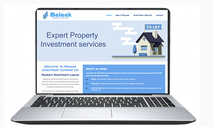 Malaak Investment Website Design Example